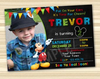Inviti Topolino. Invito del partito di Mickey Mouse. Invito di Mickey. Mickey Mouse stampabile. Festa di compleanno di Topolino