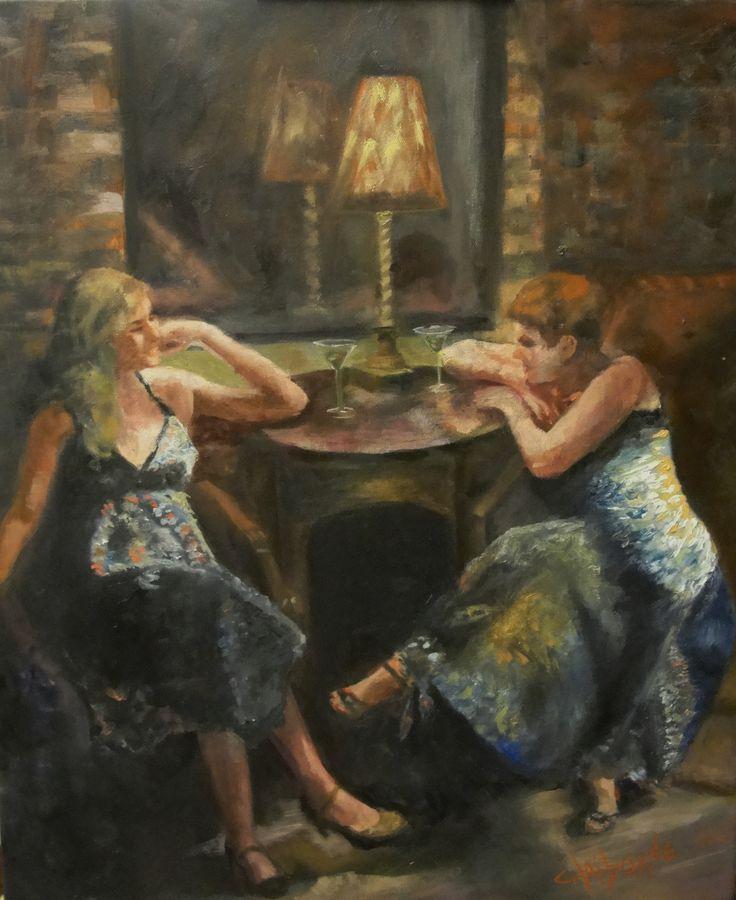 "Two Ladies sitting at a table sharing Martini's and Girl Talk  ""Girl Talk and Martini's""  20 x 24 Oil on Canvas  $1900.00 www.claibornescorner.com claibornescorner@aol.com"