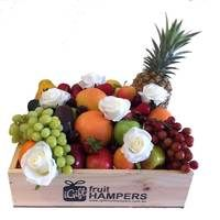 White Roses Fruit Hamper http://www.igiftfruithampers.com.au/valentines-day-gifts #valentinesgift #valentinesday #valentineshamper #fruithamper #fruitbasket