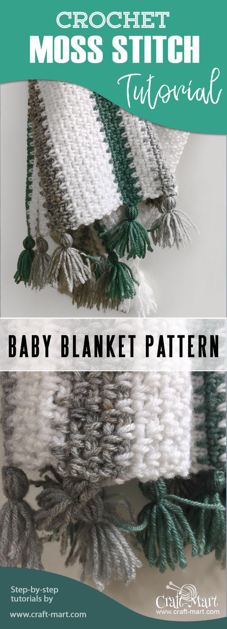 Patrón de manta para bebé fácil de tejer (Cómo tejer una manta con puntada de musgo
