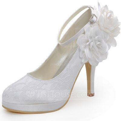 Zapatos de novia - $55.99 - De mujer Cordón Tacón stilettos Cerrados Salón con Hebilla Flor (047042434) http://jjshouse.com/es/De-Mujer-Cordon-Tacon-Stilettos-Cerrados-Salon-Con-Hebilla-Flor-047042434-g42434