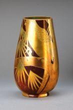 Jugendstilvase, Zsolnay, um 1905, Keramik, runde Stempelmarke von 1904, Modell 5919, Lüsterkeramik, Vogel in Baumlandschaft, Goldstaffage