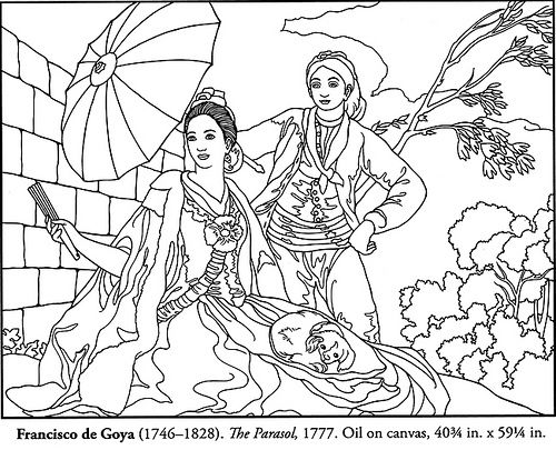 Color Your Own Spanish Masters Paintings - Francisco de Goya - The Parasol - 1777 - coloring page by neefer, via Flickr: