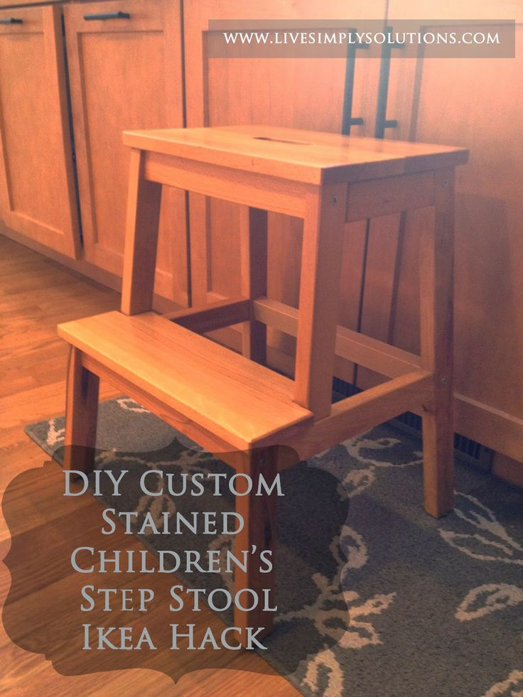 diy custom stained step stool ikea hack to match cabinets