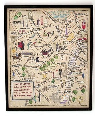 1951 embroidered map of London