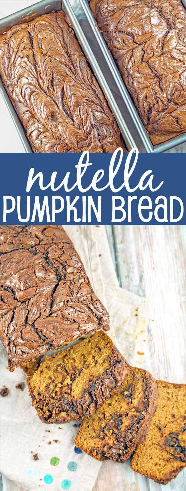 Nutella Pumpkin Bread: Perfectly spiced pumpkin bread with rich swirls of nutella topping the bread. {Bunsen Burner Bakery}