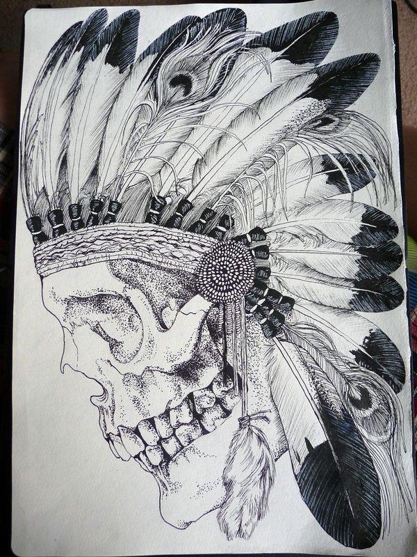 'Dead Indian' T-shirt design for Bein Kemen by Nathan Butcher, via Behance