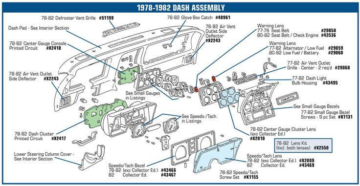 78-82 Corvette Defroster Vent Grille NEW Upper Dash 51199