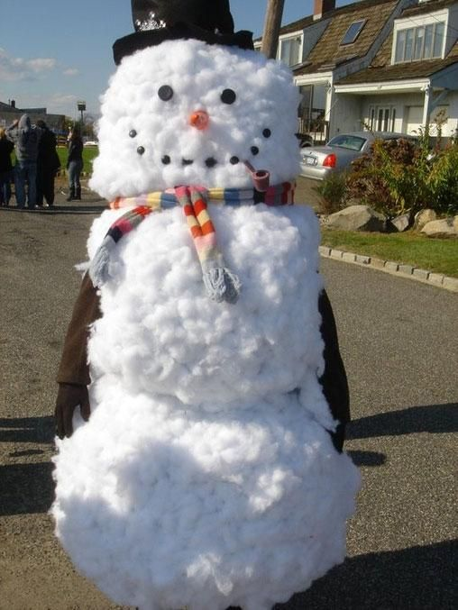 A Realistic Looking Homemade Snowman Costume Made From Cotton Wool Balls