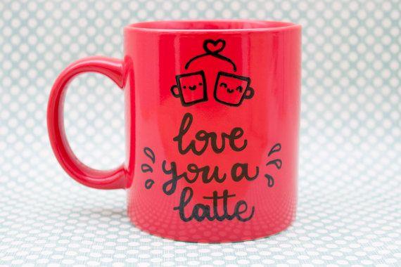 I love you a latte - Ceramic red mug