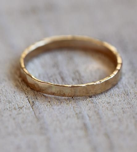 Hammered Gold Wedding Band  | This hammered 14k gold band makes for a unique mens or womens ... | Rings