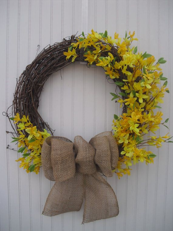 Forsythia & Burlap Spring Wreath by ATPitman on Etsy, $
