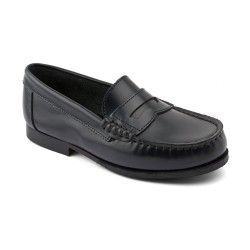 Penny, Navy Blue High Shine Leather Slip-on School shoes http://www.startriteshoes.com/school-shoes/