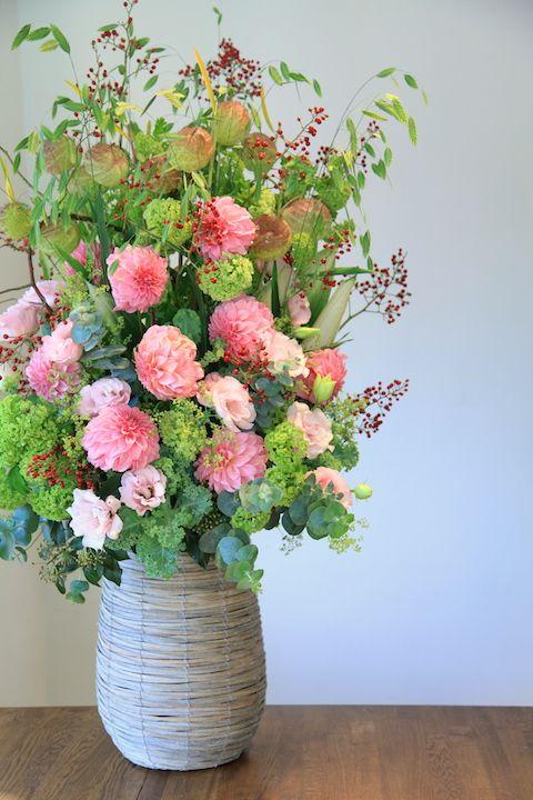 フラワーアレンジメント/ダリア/花どうらく/花屋/http://www.hanadouraku.com/flower arrengement/