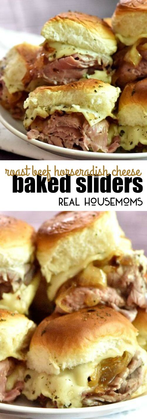 Roast Beef Horseradish Cheese Baked Sliders are the BEST appetizer and the easiest!!! via @realhousemoms