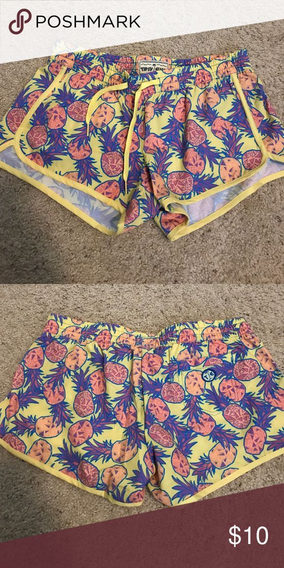 PINEAPPLE shorts! Athletic pineapple print shorts! Never worn! Size is medium but fits like a small. tipsy elves Shorts