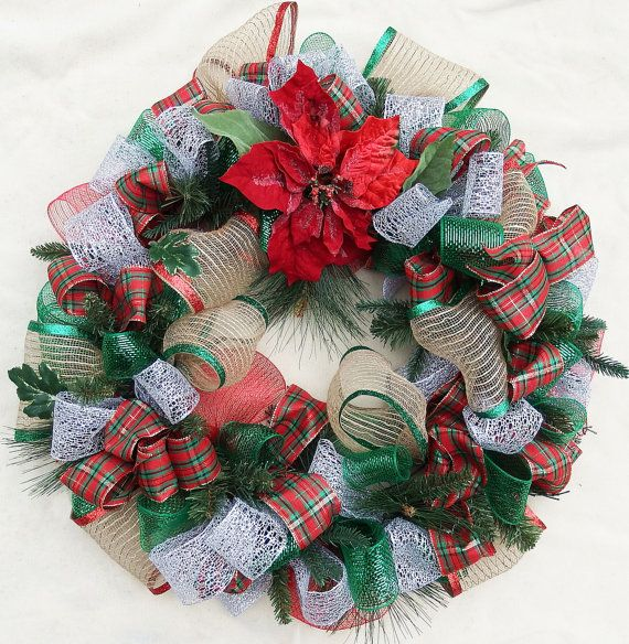 Poinsettia Wreath Deco mesh wreath Red and by DesignsOnHoliday