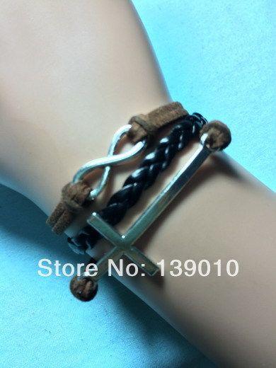 Новый роскошный вязаный черный коричневая кожа замша бесконечность боком крест браслет браслеты браслеты шарм мода женщины мужчины ювелирные изделия
