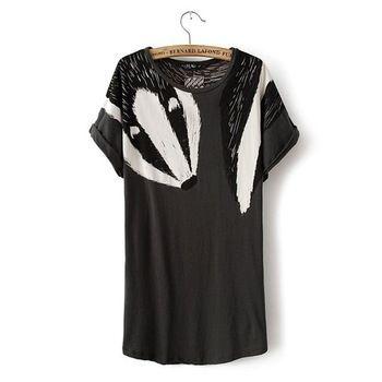 2014 nouveau mode Europe , les femmes printemps et d'été casual lâche t - shirt Fashion swan & fox imprimer manches courtes Tees # E898