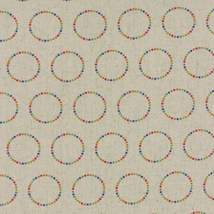moda momo flying colors canvas linen clover green pink circle rainbow fabric 3306411l bty