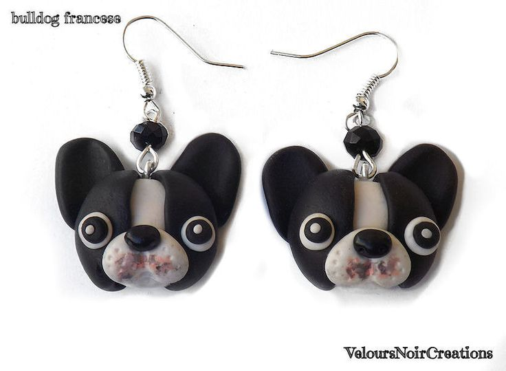 French bulldog earrings polymer clay , by Velours Noir Crèations, 10,00 € su misshobby.com