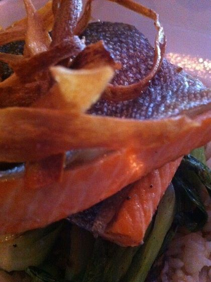 Wood oven cooked trout with crispy parsnip strips - The Combine Norfolk County Simcoe TurnipseedTravel.com