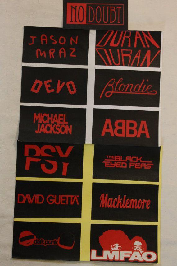 Handmade band stickers from rap hip hop pop boy band girl