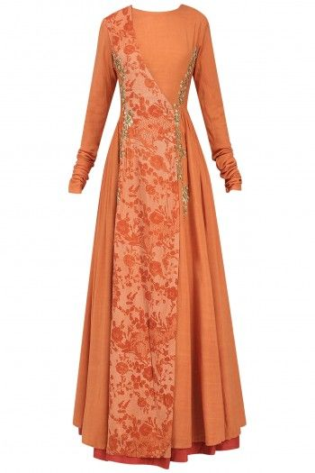 Natasha J Orange Embroidered Mesh Print Angrakha Anarkali