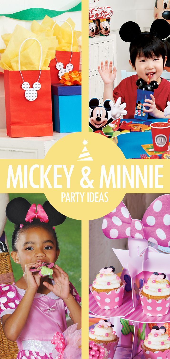 Everyone's favorite classic Disney characters are here to play! Mickey Mouse party ideas and Minnie Mouse party ideas are just a click away. From details like mouse ear cupcakes and other subtle decorating ideas, to creating an entire Mickey Mouse Clubhouse birthday party with coordinated party supplies, party food, and party games, Birthday Express makes it easy to create the best birthday party ever for your child.