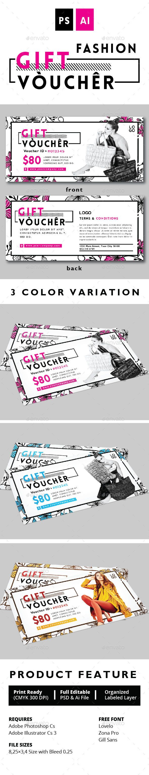 FASHION GIFT VOUCHER Design Template Vol. 2 - Print Templates PSD. Download here: https://graphicriver.net/item/fashion-gift-voucher-vol-2/17039385?s_rank=274&ref=yinkira