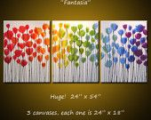 Amy Giacomelli Rainbow Painting Triptych Large Flowers Abstract Modern Floral Garden .. red yellow blue green ...24 x 54 ... Fantasia