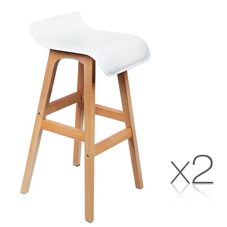 Set of 2 PVC Leather Timber Bar Stool - White