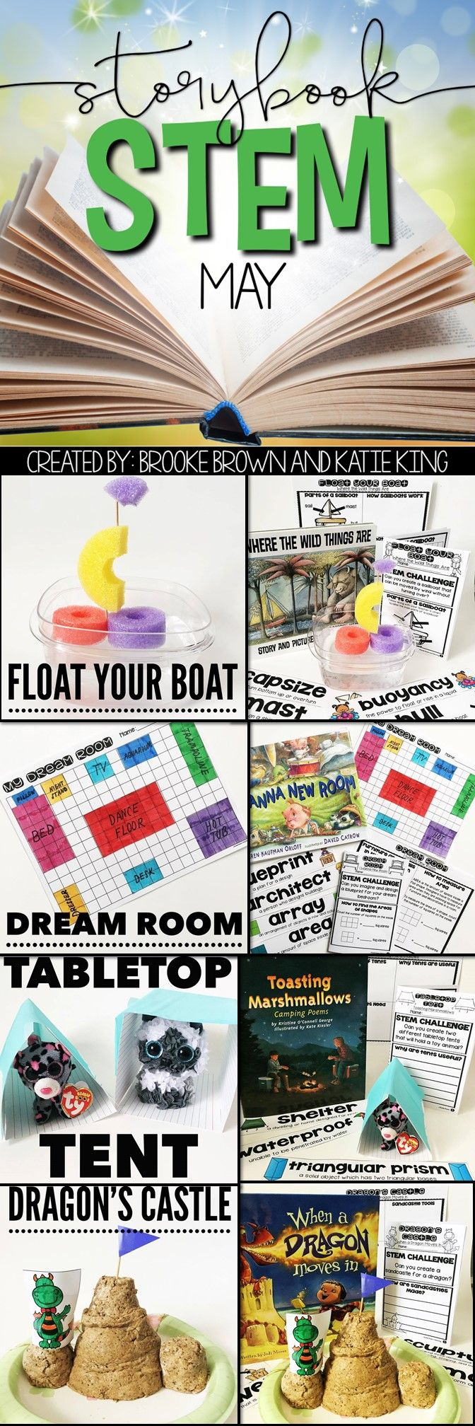 Summer themed Storybook STEM for May or June! All in one literacy lessons, STEM Challenges, and math extensions for Kindergarten, first grade, and second grade!