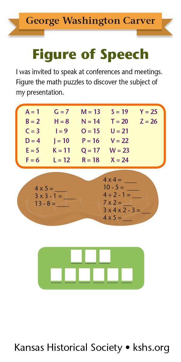 George Washington Carver Figure Of Speech Figure Of Speech George Washington Carver Maths Puzzles