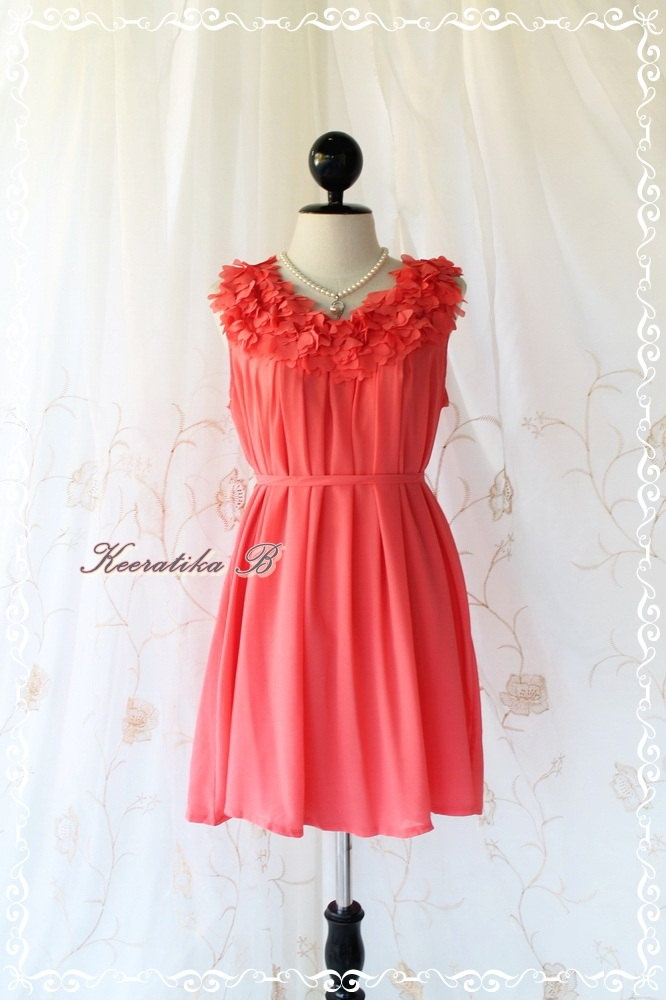 A Party III - Dress - Sweet Party Wedding Bridesmaid Cocktail Dinner Dress Coral Salmon Color Heart Ruffle Around Neck XS-M. $39.90, via Etsy.