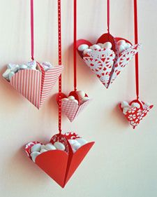 Candy Filled Hearts: Directions on siteValentine Crafts, Valentine'S Day, Valentine Treats, Valentine Day Crafts, Hanging Heart, Paper Heart, Candies, Valentine Ideas, Martha Stewart