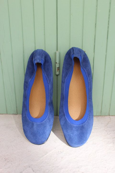 Leather ballet flats size 38 Royal Blue flats. Womens by EATHINI