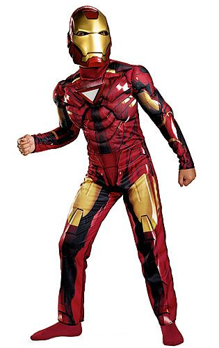 f84b359a06f4 Child Deluxe Iron Man Mark 6 Costume Muscle Chest Jumpsuit w/Glow Print  ReactorCharacter MaskImpress Pepper Potts with your strong muscles in this  child's ...