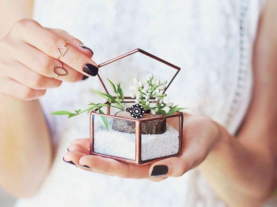 Scatola anello di vetro anello portatore Box Box anello