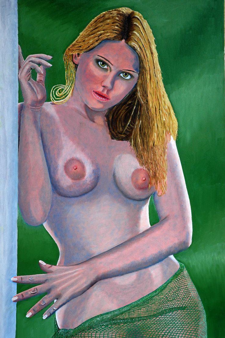 Fiorentino Manganiello Nudo con drappo verde (2011). Olio su tela