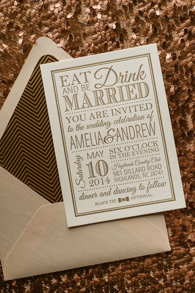 EMMA Suite Art Deco Package, chevrons, black and gold, blush, Great Gatsby inspired, letterpress wedding invitations