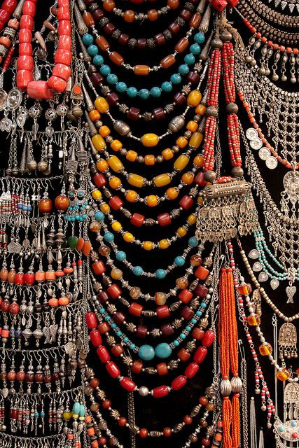 "Jewelry found in a souq in Sana'a, Yemen, by Retlaw Snellac, via Flickr.  A souq or souk is an open-air marketplace or commercial quarter in Middle Eastern and North African cities. The equivalent Farsi term is ""bazaar."""