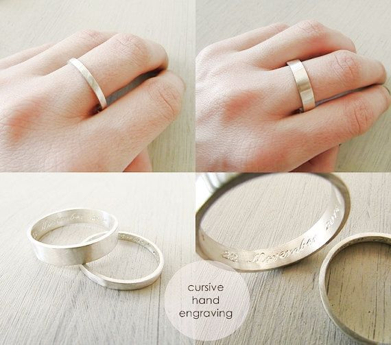 sterling silver wedding ring set wedding rings engraved ring engraved 5mm and 3mm wedding band