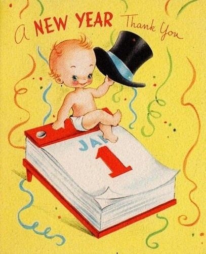 Vintage New Year's Greeting Card.