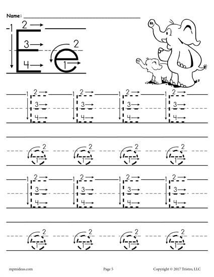 Free Printable Letter E Tracing Worksheet With Number And Arrow