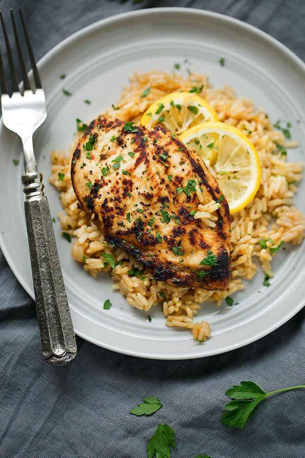 Easy one pot Greek chicken and rice pilaf. The recipe is quick and easy! Simple sautéed greek style chicken breast with lemon and herb scented rice pilaf.