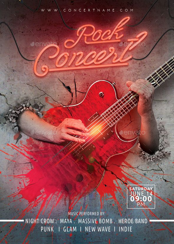 Rock concert flyer template — Photoshop PSD #neon #metal • Available here → https://graphicriver.net/item/rock-concert-flyer-template/10862293?ref=pxcr
