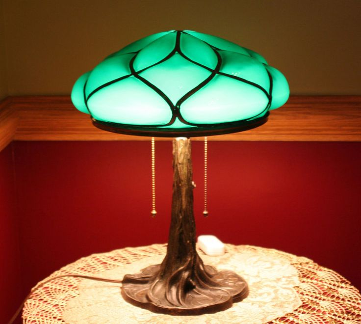 Fine Art Nouveau Tree Trunk Lamp Base w/ Cased Puffy Emerald Glass ...