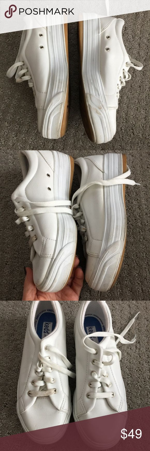 Leather keds shoes size 6 Gently used white leather keds.  Thick platform soles as seen in pic!! Great shoes!!! Keds Shoes Sneakers