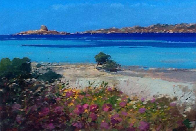 Italian original painting beach Stintino Sardinia sea seascape modern art oil on canvas 70x100 cm Sardegna Italy italia